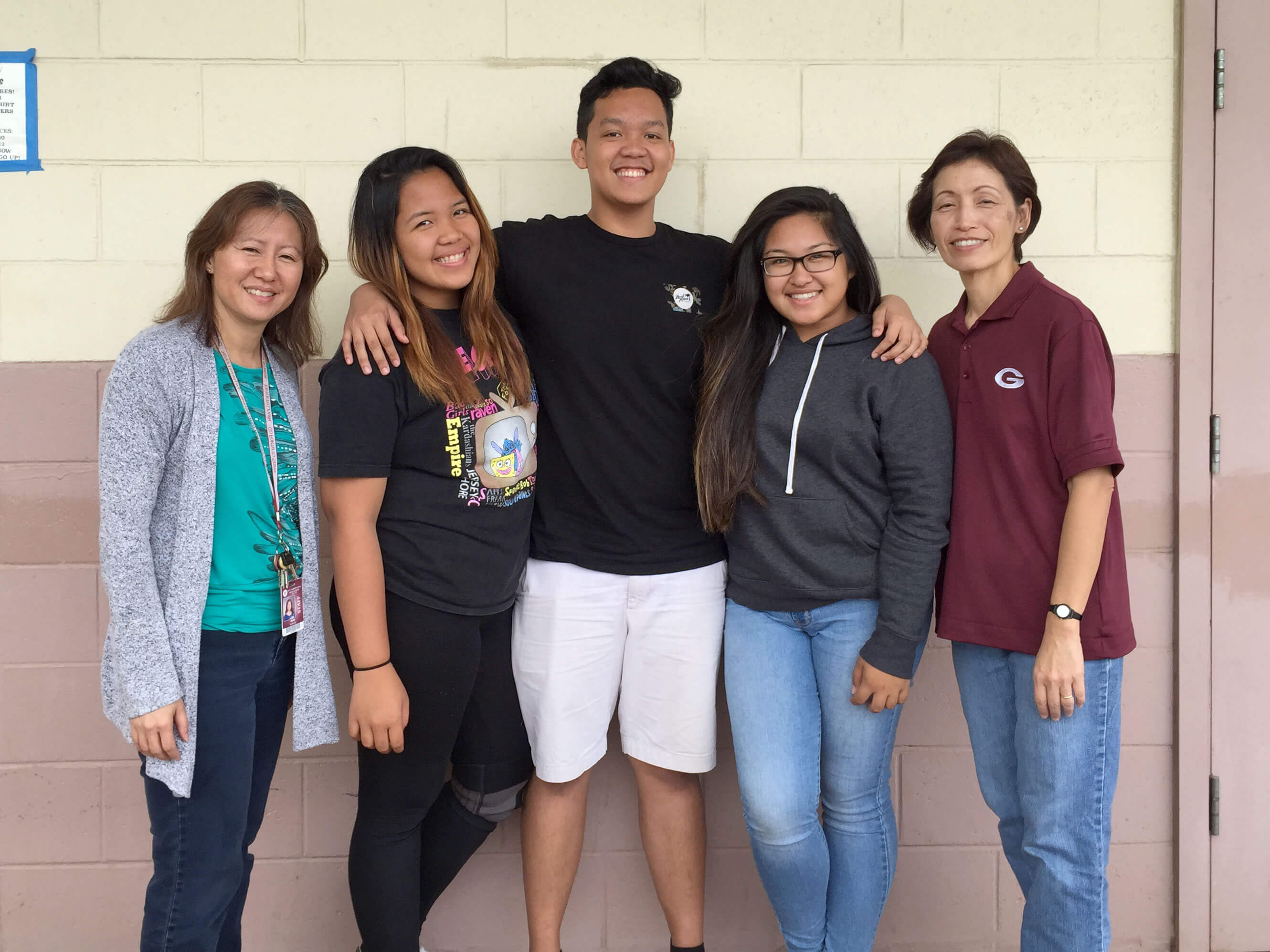 First Community Innovation awardees! Junior group from the Farrington Jigh School Health Academy in Kalihi. From left to right: Alette Yoshii-Ho (project advisor), Lovely Calip, Marc Rollon, Queen Dela Cruz, Glenda Lau (Health Academy lead teacher).